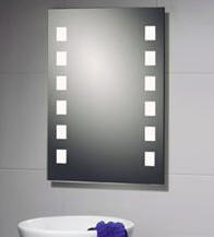 Kjøp Stilig speil med intergrerte lysstoffrør bak frostet glass